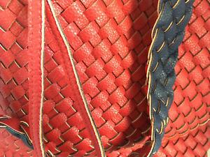 XL Wendetasche Leder Optik geflochtene Schultertasche Shopper Business Blau Rot