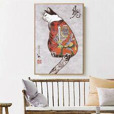 Art Silk Canvas Ukiyoe Tattoo Cat Japan Paint Poster Asian Decor Unframed S663