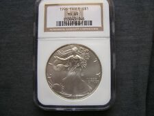 1996 SILVER  AMERICAN  EAGLE  NGC  MS69  BROWN  LABEL