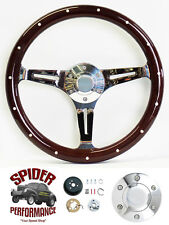 "1968-1982 Corvette steering wheel 14"" DARK MAHOGANY WOOD"