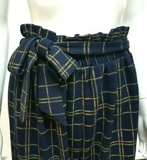 NEW Navy LOOK Plus SIZE Paperbag HIGH Tie WAIST Tweed CHECK Trousers MADE IN UK