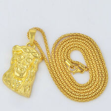 24k gold Plated micro jesus piece 'GOD BLESS' hip hop long chain necklace