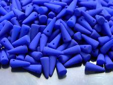 20pcs Czech Spike/Cone Glass Beads Size 4x10mm Neon Ocean Blue
