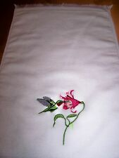 Fingertip/Hand Towel 11x18 with Embroidered Hummingbird & Flower