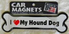 "Dog Magnetic Car Decal, Bone Shaped, I Love My Hound Dog, Made in USA, 7"""