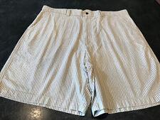 Men's Turnbury Tan White Striped Flat Front Chino Bermuda Shorts Size 42