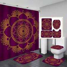 Lotus Pattern Purple Shower Curtain Bath Mat Toilet Cover Rug Bathroom Decor