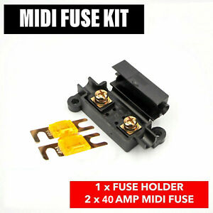 Midi Car Inline Fuse Holder 40 Amp Midi Fuses Terminals And Heat Shrink Durable