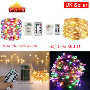 50/100/200LEDS Battery Operated Fairy String Lights Copper Wire Lights + Remote