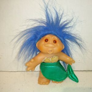 """Vintage DAM Norfin 1986 Troll Doll Mermaid Blue Hair Brown Eyes 5"""""""