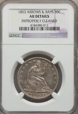 1853 ARROWS & RAYS LIBERTY SEATED HALF - PCGS AU DETAILS. CLEANED.