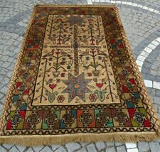 Antique Handmade Traditional Asian Rug, Pers Rug, 4x6 ft Wool Brown Carpet Kilim