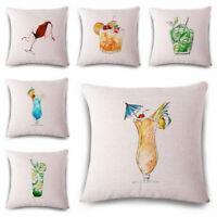 Fashion Drink Cotton Linen Throw Pillow Case Cushion Cover Home Sofa Decor 18''