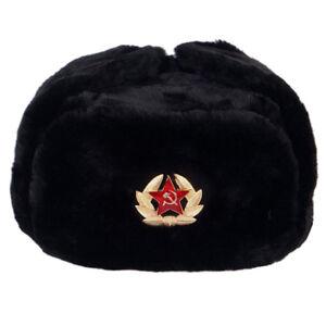Chapka - Noir - Uchanka Militaire Russe Original - insigne Armee Soviétique URSS