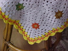"BRAND NEW HOME MADE HAND CROCHET BLANKET AFGHAN WHITE, YELLOW, ORANGE 36""x 30"""