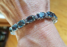 BELGIAN TEAL FLUORITE, TANZANITE BRACELET, 44.00 TCW IN PLATINUM OVER STERLING S