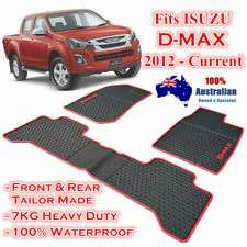 Waterproof Rubber Floor Mats for ISUZU D-MAX DMAX 2012-2019 Dual Cab Red Trim