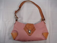 Cristina Made in Italy Pink/Light Brown Pebbled Leather Hobo Shoulder Handbag VG