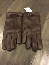 Coach F20887 Women's Bow Leather Wool Lined Gloves Size 7.5 New Ox blood New