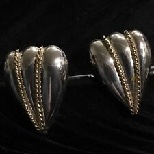 & 14K Gold Rope Detail Earrings Beautiful Estate Sterling Silver Designer Carla