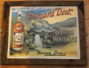 Donard Dew - Old Irish Whiskey Poster  - Framed vintage advert 16 x 20 inch