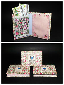3 STICKY NOTE PADS Butterfly Flower Hard Cover Book Business Card Holder Pocket