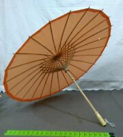 "Chinese Paper and Bamboo Parasol - orange  33""  umbrella quality made vintage"