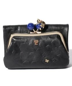 ANNA SUI Playing Cat Outer Clasp Bi-Fold Wallet 313751 Cowhide Leather