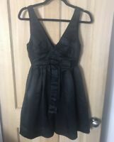 Warehouse Dress 8 Black Aline Fit Flare Spotlight Bow Evening Party Occasion