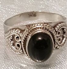 STUNNING STERLING SILVER AND ONYX SIGNET RING SIZE Q