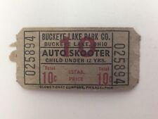 "Buckeye Lake Amusement Park Ride Ticket ""Auto Skooter"" Vintage Ohio"