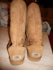 UGG Classic Fleece Lined Tall Brown Tan Suede Boots  Women's size 10