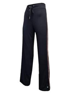 ST4 EX Marks & Spencer BLACK/PINK STRIPE JOGGER SPORTS PANTS ACTIVE RUNNING  M&S