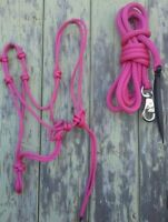 4 Knot Rope Halter & 12ft Lead Rope with Bull Snap in Pink - Natural Equipment