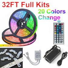 32FT RGB Waterproof LED Strip Light SMD 44 Key Remote 12V DC Power Kit 5050 3528