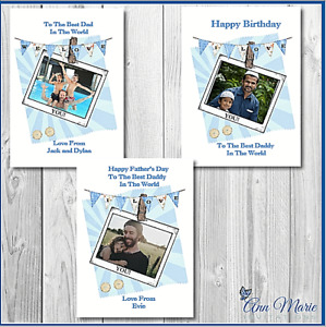 PERSONALISED PHOTO BIRTHDAY FATHERS DAY CARD DAD FATHER GRANDAD POP BROTHER