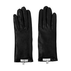 Hermes Soya Black Lambskin Palladium Silver Kelly Cadena Lock Gloves size 6.5