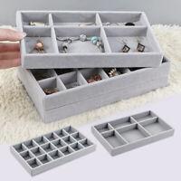 Velvet Jewelry Ring Display Organizer Case Tray Holder Ring Earring Storage Box