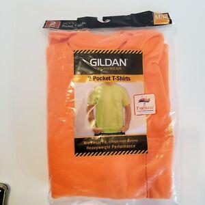 Gildan 2-Pack Men's Workwear Short Sleeve High Visibility Crew size M NEW