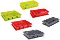 PLASTIC DISH DRAINER KITCHEN CUTLERY TRAY PLATE HOLDER SINK UTENSIL DRAINING CUP