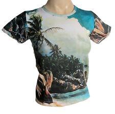RAGAZZA / donna t shirt spiaggia tropicale motivo, taglia xs s 8 O 10