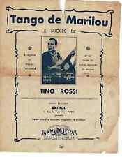 Ancienne Partition Tino Rossi Tango de Marilou,ma Bagnole les Harengs-Saurs 1933