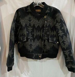 PENDLETON Portland Collection Sieltz Jacket Black and Tan size Medium Nice LOOK!
