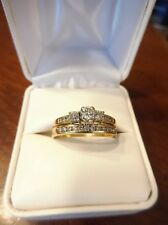 14k Yellow Gold 3-Stone Diamond Wedding Engagement Ring Band Set (297)