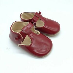 Baby Girls Mary Jane Shoes Faux Leather Soft Sole Red Size 2
