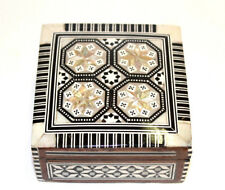 Marquetry Jewelry Box Wood Hinged Mother of Pearl Inlay Square Ring Watch Gift