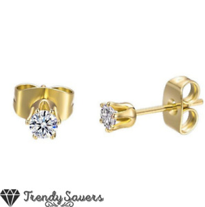 Small 18ct Gold Plated Surgical Steel Cartilage CZ Crystal Ear Stud Earrings 3MM