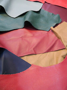 Assorted Colours Leather Cowhide Offcuts, Various Sizes, Bookbinding/Crafts