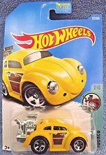 2017 Hot Wheels #172 Tooned VOLKSWAGEN BEETLE Yellow w/5 Spoke Wheels
