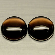 A PAIR OF 10mm ROUND CABOCHON-CUT NATURAL AFRICAN SMOKEY QUARTZ GEMSTONES